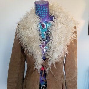 Camel 100% Leather Sued light jacket